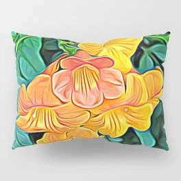 Orange Flowers of Flowing Circuitry Pillow Sham