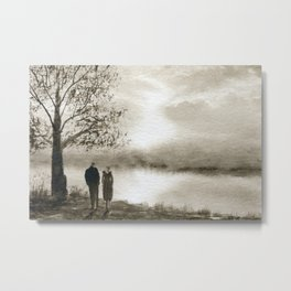 Waterside in Sepia Metal Print
