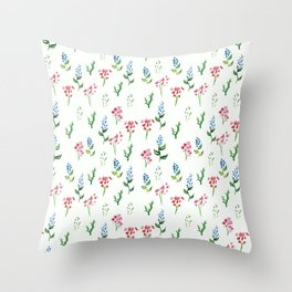 Ditsy floral pink and blue  Throw Pillow