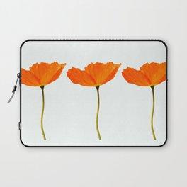 Three Orange Poppy Flowers White Background #decor #society6 #buyart Laptop Sleeve