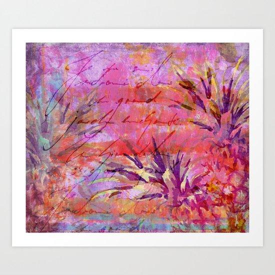 Tropical Pineapple pink abstract illustration art Art Print