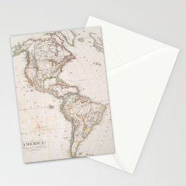 Vintage Map of North and South America (1843) Stationery Cards