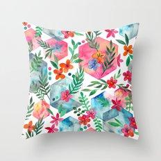 Whimsical Hexagon Garden on white Throw Pillow