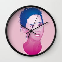 jennifer lawrence Wall Clocks featuring Funny face: Jennifer Lawrence by Esther Cerga