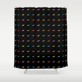 Colored Dogs on Black Shower Curtain