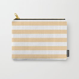 Narrow Horizontal Stripes - White and Sunset Orange Carry-All Pouch