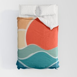 Retro 70s and 80s Color Palette Mid-Century Minimalist Nature Waves and Sun Abstract Art Comforters
