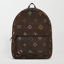 Brown Bohemian Traditional Moroccan Vintage Artwork (N25) Backpack