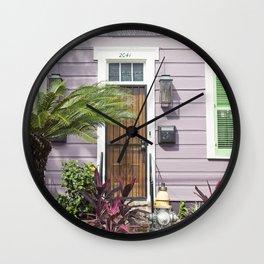 New Orleans Marigny Purple House Wall Clock
