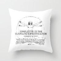 da vinci Throw Pillows featuring Leonardo Da Vinci by Uriya Ganor