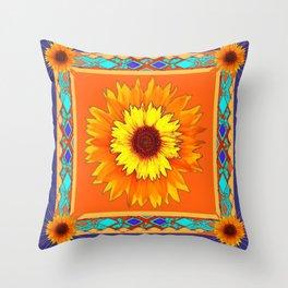 Southwestern Sun Flowers Abstract Design Throw Pillow
