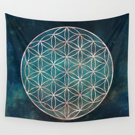 Mandala Flower of Life Rose Gold Space Stars Wall Tapestry