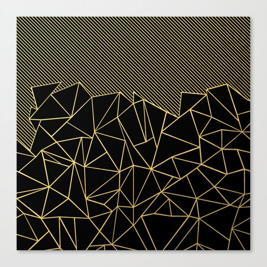 Ab Lines 45 Gold Canvas Print