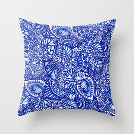 Modern blue handdrawn watercolor floral mandala Throw Pillow