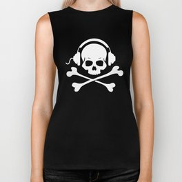 Skull and Phones Bones Headphones Crossbones Music Bay Pirate Biker Tank