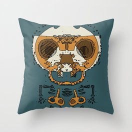 orange and brown skull and bone graffiti drawing with green background Throw Pillow