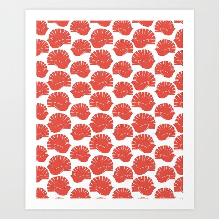 Block Cut Retro NZ Fantail Pattern Art Print