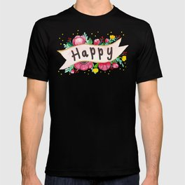 Watercolor Happy Flowers Banner T-shirt