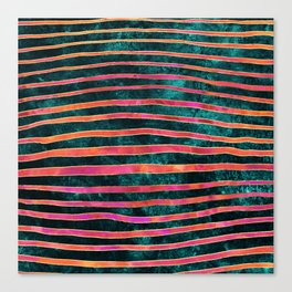 Pattern Play / Stripes on deep turquoise Canvas Print