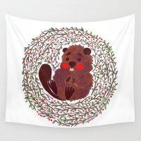 beaver Wall Tapestries featuring Baby Beaver by haidishabrina