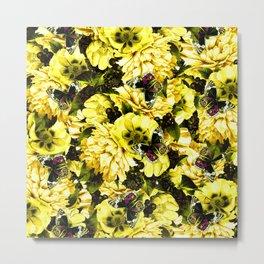 night and day flowers butterflies pattern dark yellow Metal Print