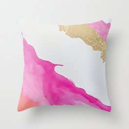 Pink and Gold Watercolor Throw Pillow