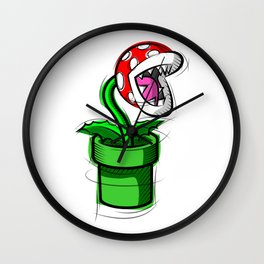 Piranha Plant Digital Drawing, Games Art, Super Mario, Nintendo Art Wall Clock