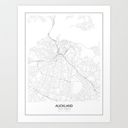Auckland, New Zealand Minimalist Map Art Print