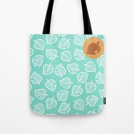 animal crossing villager nook shirt pattern white leaf Tote Bag