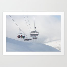 Skiers on chairlift, Alps Art Print