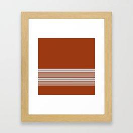 Retro Orange Grey Stripes Framed Art Print