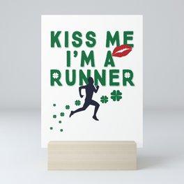 Kiss Me I'm A Runner Cute and Funny Irish Clover Mini Art Print