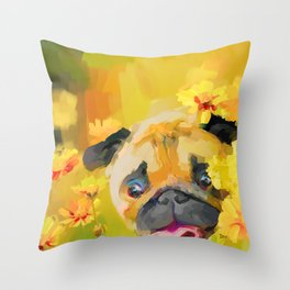 Pug in Daisies Throw Pillow
