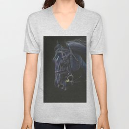 Black Horse Portrait Unisex V-Neck