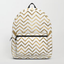 Glam Gold and White Chevron Stripes Backpack
