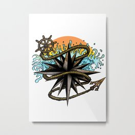 Nautical Splash Metal Print