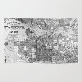 Vintage Map of Vancouver Canada (1920) BW Rug