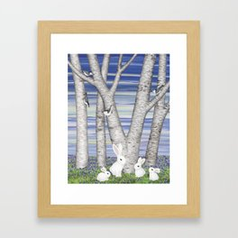 nuthatches, bunnies, and birches Framed Art Print