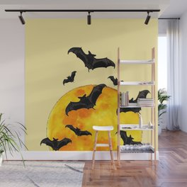 BLACK FLYING BATS FULL MOON ART Wall Mural