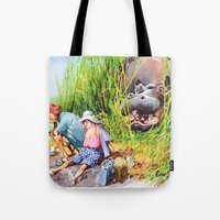 hippo Tote Bags featuring hippo! by Rose Rigden