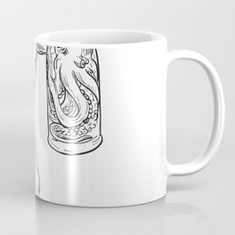 Hercules With Bottled Up Angry Octopus Drawing Black and White Coffee Mug