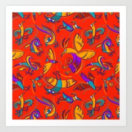 Pattern with Firebirds (on red background) Art Print