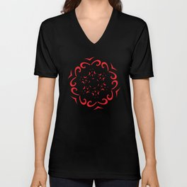 Floral Black and Red Round Ornament Unisex V-Neck