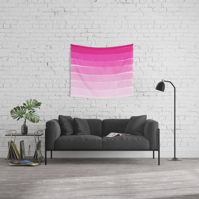Pink Ombre Brushstroke - Summer, Beach, Cute trendy, painterly art Wall Tapestry