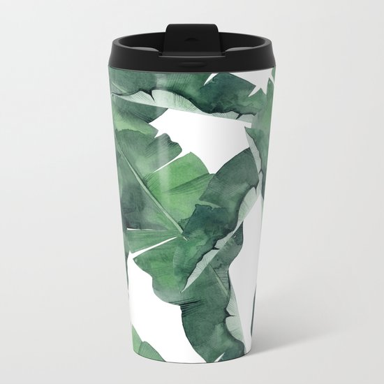 Tropical Island Leaves Metal Travel Mug