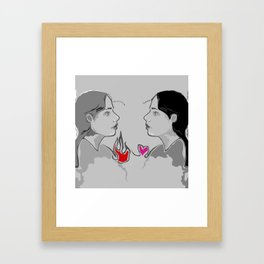 The Girl With Two Hearts Framed Art Print