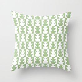 Art Deco Jagged Edge Pattern Sage Green Throw Pillow