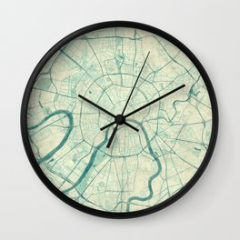 Moscow Map Blue Vintage Wall Clock