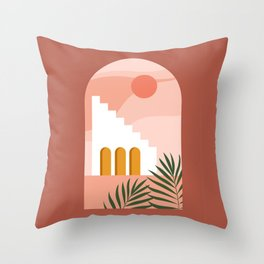 Abstract contemporary aesthetic background with desert landscape, stairs, palm, vases, Sun. Earth tones, burnt orange, terracotta colors. Boho wall decor. Mid century modern minimalist art print. Throw Pillow