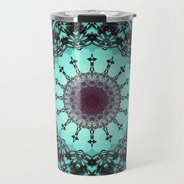 Bright Teal Black Bohemian Mandala Travel Mug